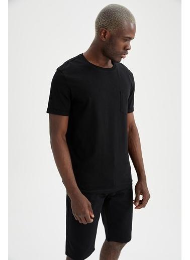 DeFacto Regular Fit Bisiklet Yaka Basic T-shirt Siyah